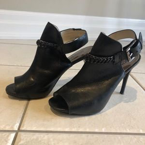 Michael Kors Black Leather Chain Detailed Booties